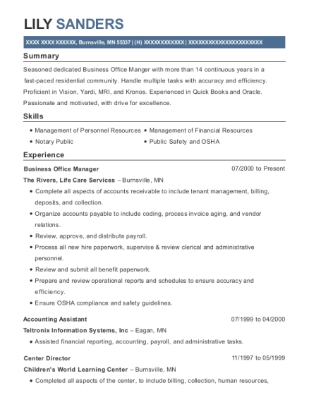 Business Office Manager resume format Minnesota