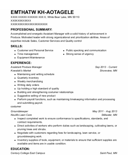 Assistant Produce Manager resume example Minnesota