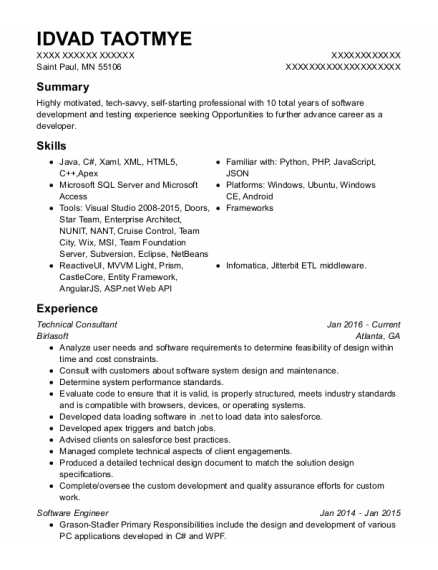 Technical Consultant resume example Minnesota