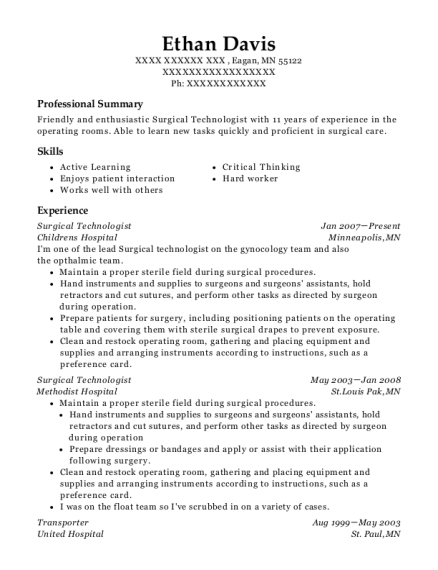 Surgical Technologist resume sample Minnesota
