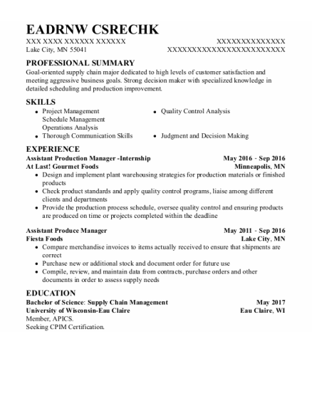 Assistant Produce Manager resume sample Minnesota