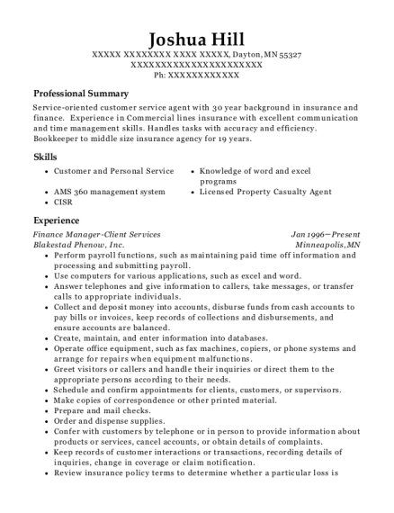 Finance Manager Client Services resume sample Minnesota