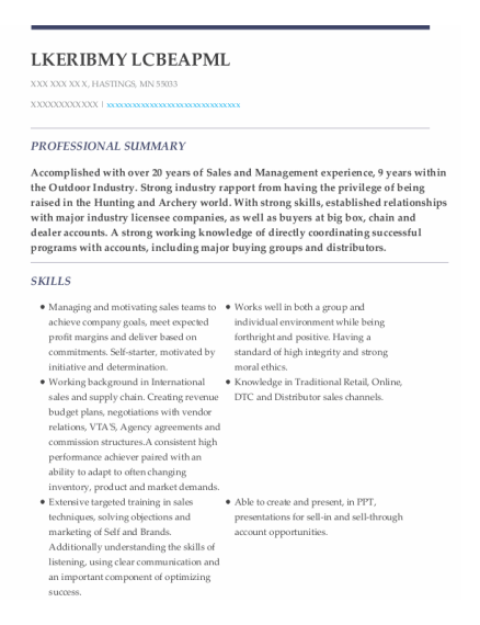 National Sales Manager resume example Minnesota