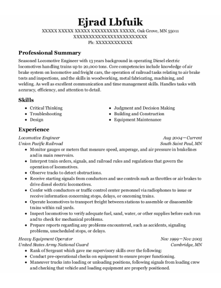 Locomotive Engineer resume format Minnesota