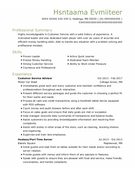 Customer Service Advisor resume example Minnesota