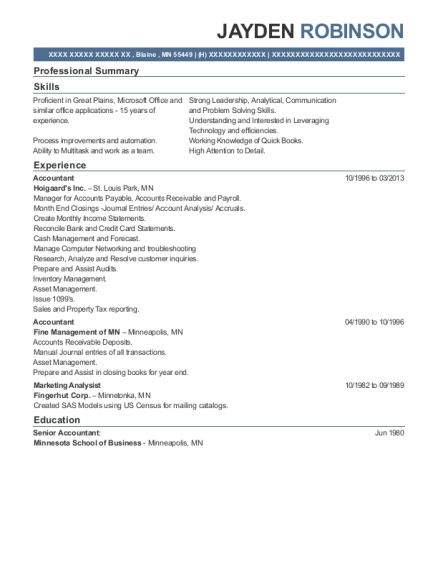 Accountant resume sample Minnesota