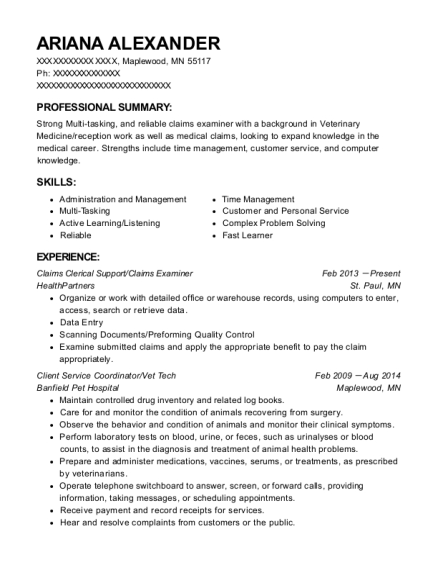 Claims Clerical Support resume template Minnesota