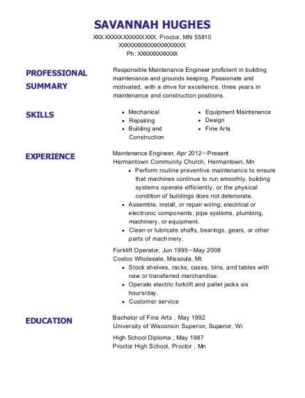 Maintenance Engineer resume example Minnesota