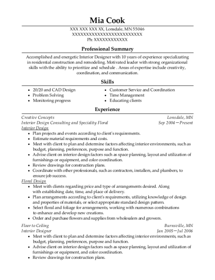 Interior Design Consulting and Speciality Floral resume sample Minnesota