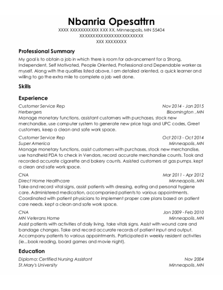 Customer Service Rep resume template Minnesota