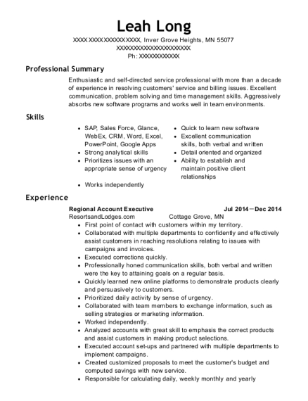 Regional Account Executive resume example Minnesota