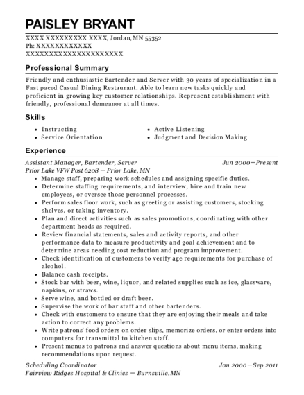 Assistant Manager resume template Minnesota