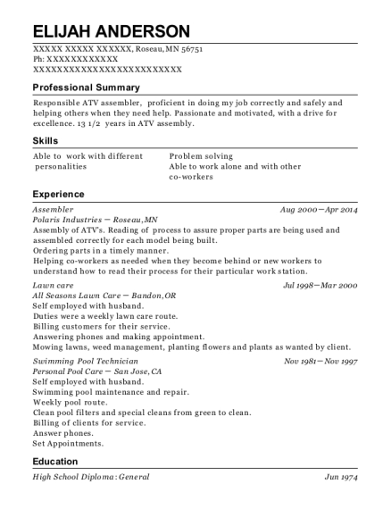 Assembler resume sample Minnesota