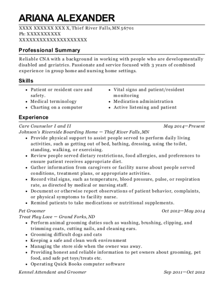 Care Counselor I and II resume example Minnesota