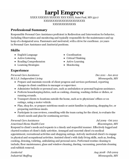 Personal Care Assistance resume sample Minnesota