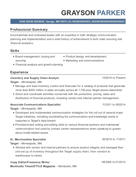 Target Inventory And Supply Chain Analyst Resume Sample