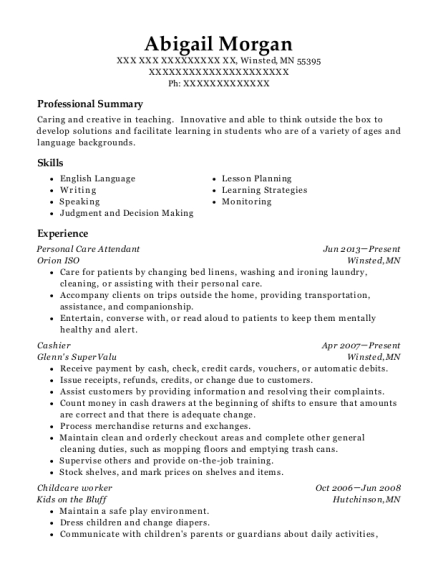 Personal Care Attendant resume template Minnesota
