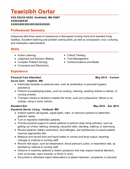 Personal Care Attendant resume example Minnesota