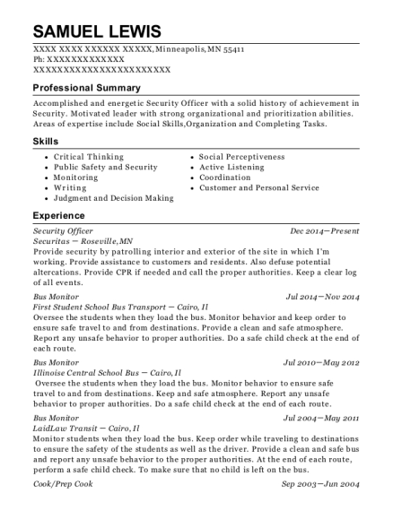 Security Officer resume sample Minnesota