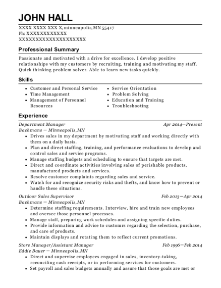 Department Manager resume sample Minnesota