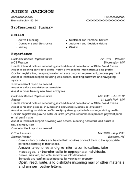 Customer Service Representative resume example Minnesota