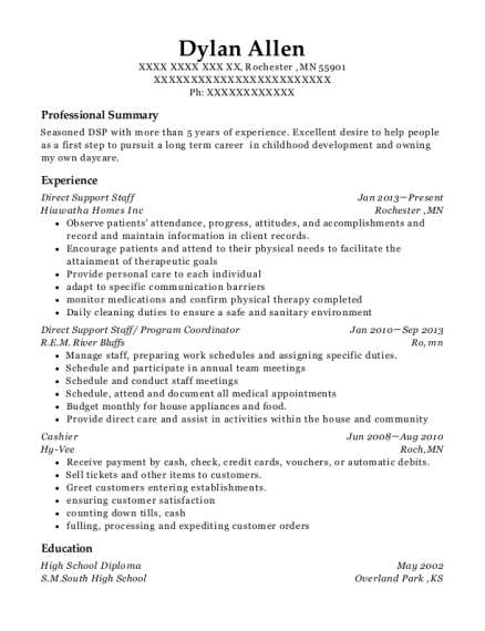 Direct Support Staff resume template Minnesota