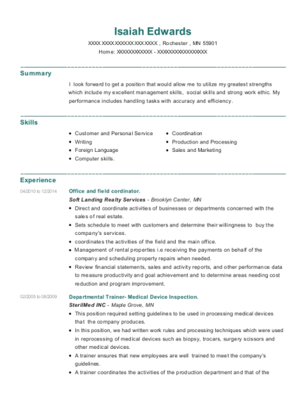 Office and field cordinator resume template Minnesota