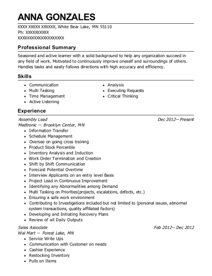 Assembly Lead resume example Minnesota