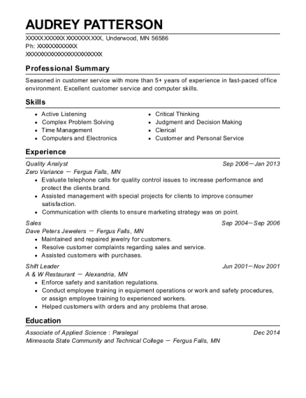 Quality Analyst resume example Minnesota