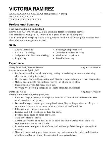 Entry level Tech resume template Minnesota