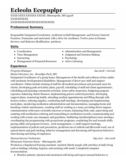 Program Manager resume example Minnesota