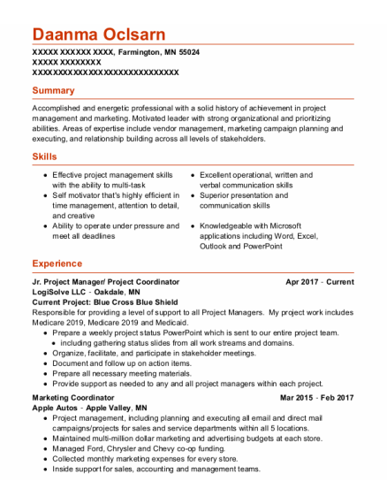 Marketing Coordinator resume format Minnesota