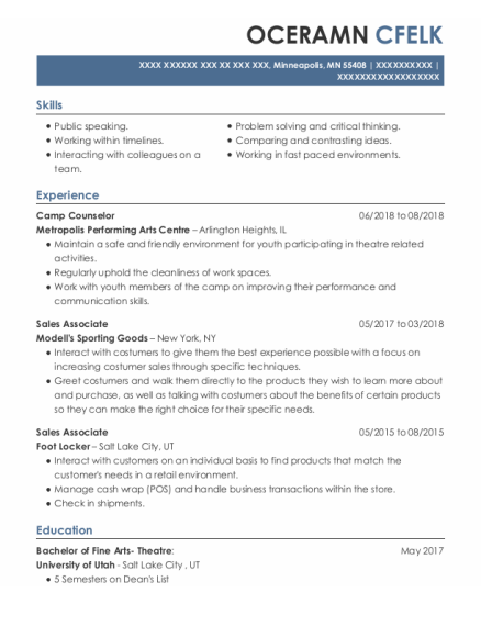 Camp Counselor resume format Minnesota