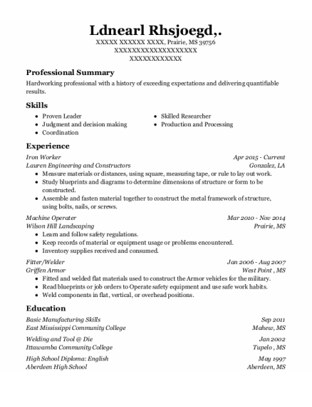 Iron Worker resume example Mississippi