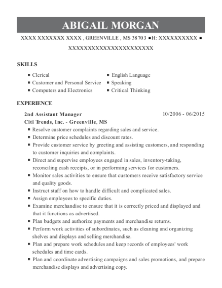 2nd Assistant Manager resume template Mississippi