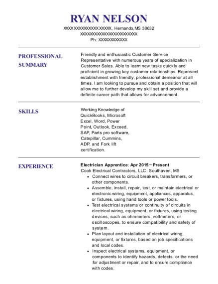Electrician Apprentice resume template Mississippi