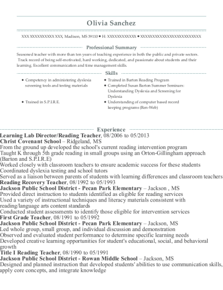 Learning Lab Director resume template Mississippi