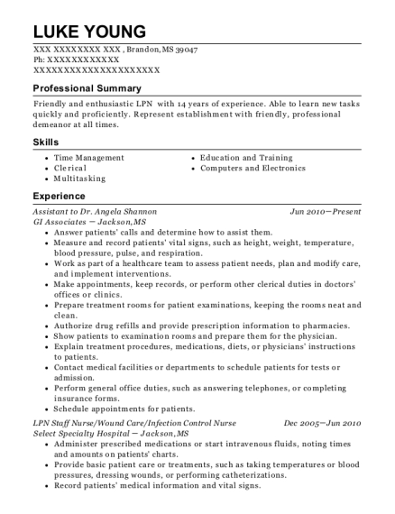 Assistant to Dr Angela Shannon resume example Mississippi