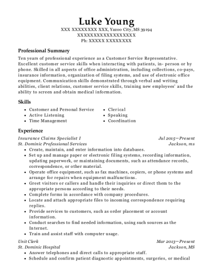 Insurance Claims Specialist I resume template Mississippi