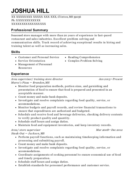 Area supervisor resume example Mississippi