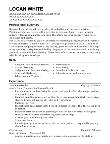 Dual Rate resume template Mississippi