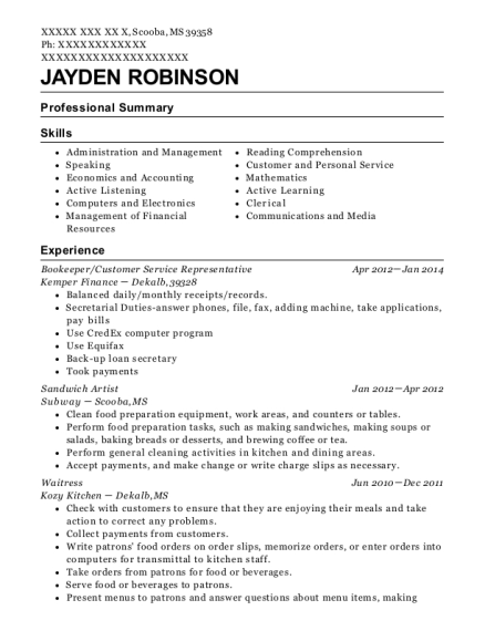 Bookeeper resume sample Mississippi