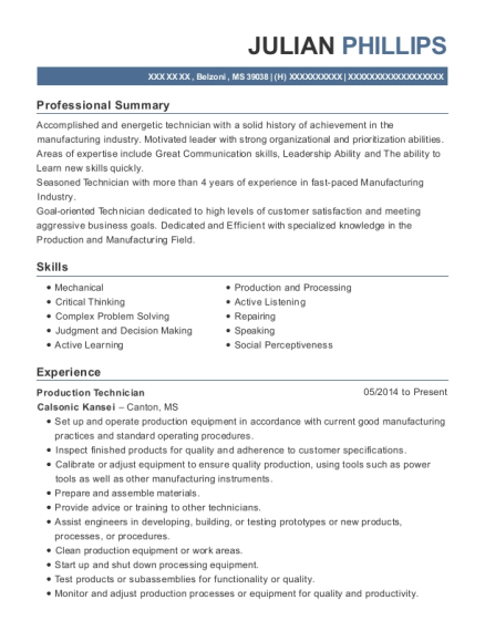Production Technician resume sample Mississippi