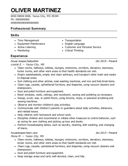 house keeper resume format Mississippi