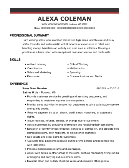 Sales Team Member resume example Mississippi