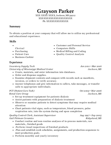 Inventory Supply Tech resume format Mississippi