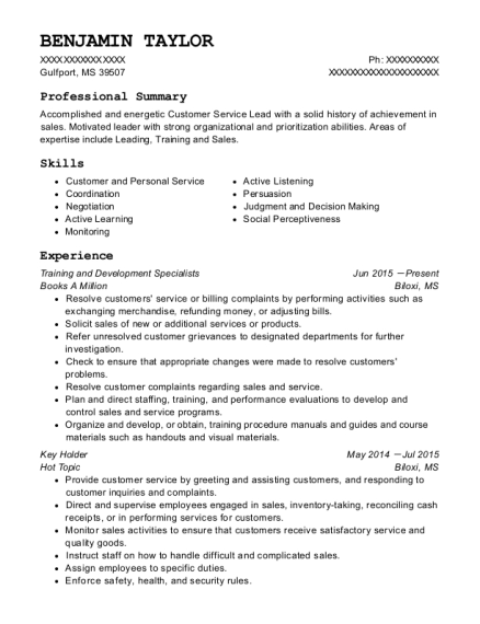 Training and Development Specialists resume template Mississippi