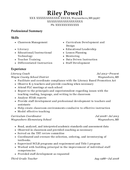 Literacy Coach resume format Mississippi