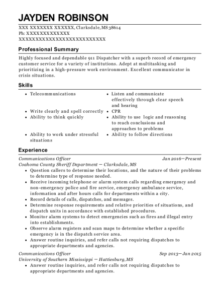 Communications Officer resume template Mississippi