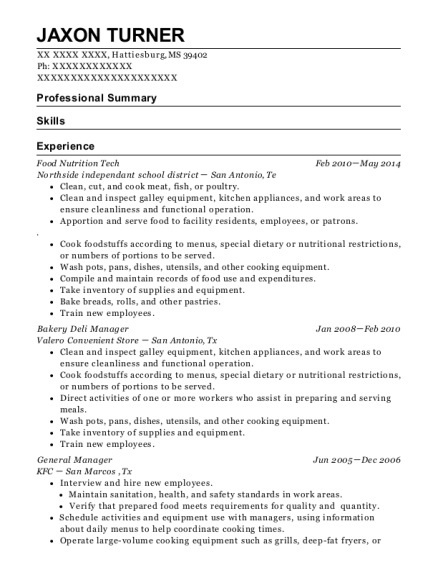 Food Nutrition Tech resume format Mississippi